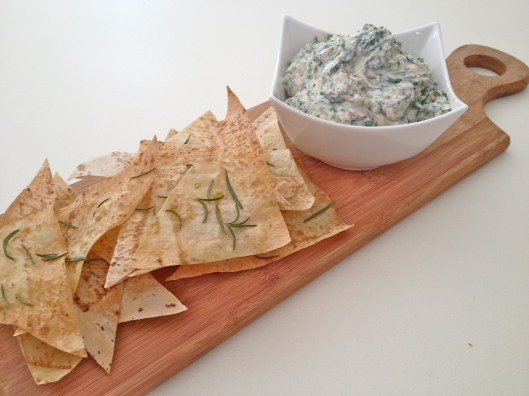 spinach dip and rosemary & garlic chips
