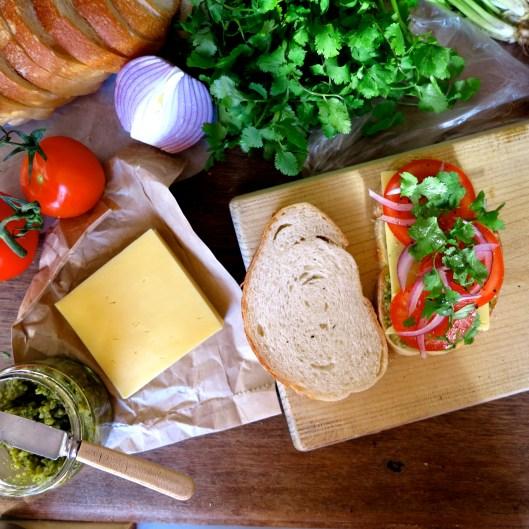 coriander & basil pesto cheesy toastie