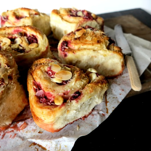 raspberry & coconut banana bread scroll