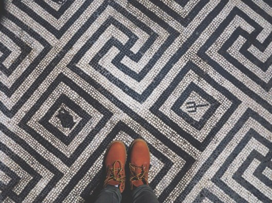 beautifully preserved mosaic floors in Pompeii