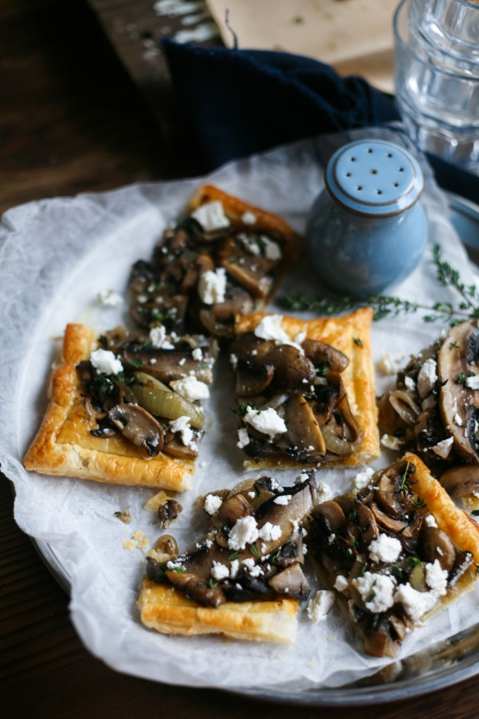 Mushroom and Onion Thyme Puff Pastry Tart