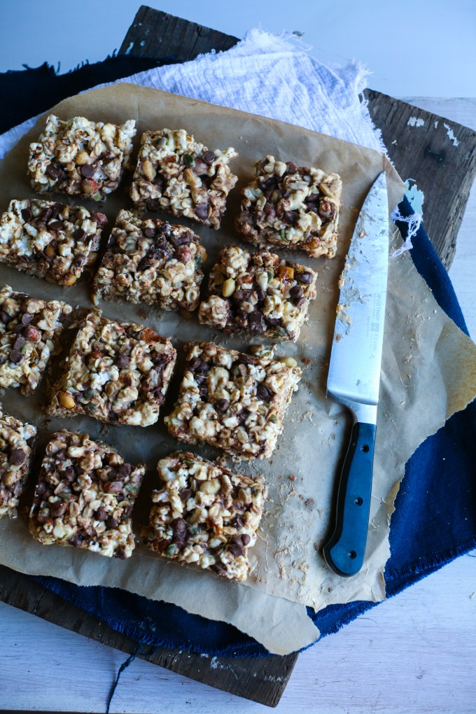 Salted Caramel Popcorn Trail Mix Bars