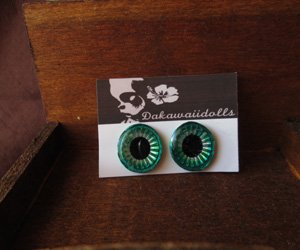 Custom Blythe Eye-chip Shine Silver and Metal Green EC-23A