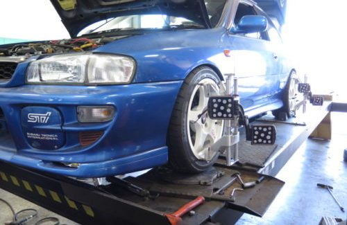 JDM Impreza in for suspension and alignment set-up.