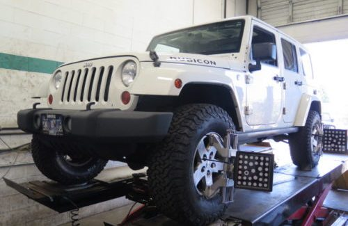 Jeep JK with a TRUXXX lift kit, Bilstein 5100 shocks, wheel spacers and BFG AT tires