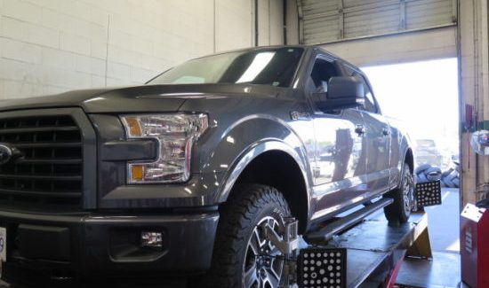 2012 and 2016 Ford F-150 getting TRUXXX Level-off kits and new tires.