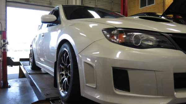 '14 STi RCE coilovers, SPC rear camber arms and Whiteline bushings installed at Dales Auto Service