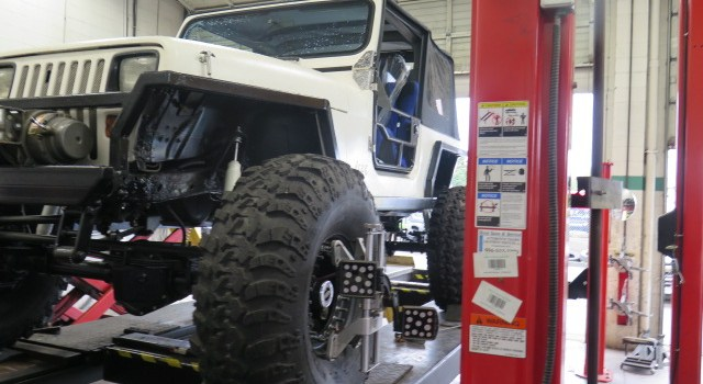 Crazy Jeep Wrangler in for an alignment at Dales Auto Service