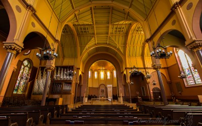 Inside First Church in Cambridge