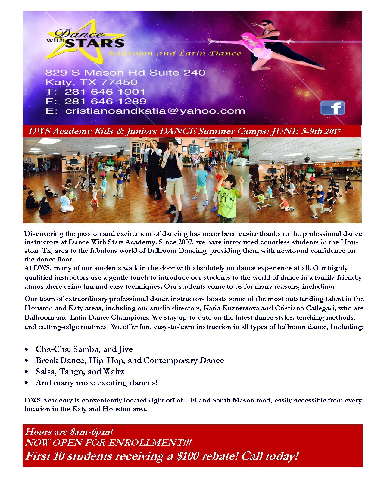Kids, Juniors, Youth DANCE Summer Camp, JUNE 5th-9th 2017. $100 REBATE!!! CALL NOW: 281-646-1901