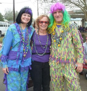 Fredda with Mardi Gras folks