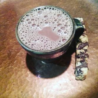 CARAMEL-infused Mayan-style Drinking Chocolate today, until we run out. Tasty with the Blueberry lemon Biscotti