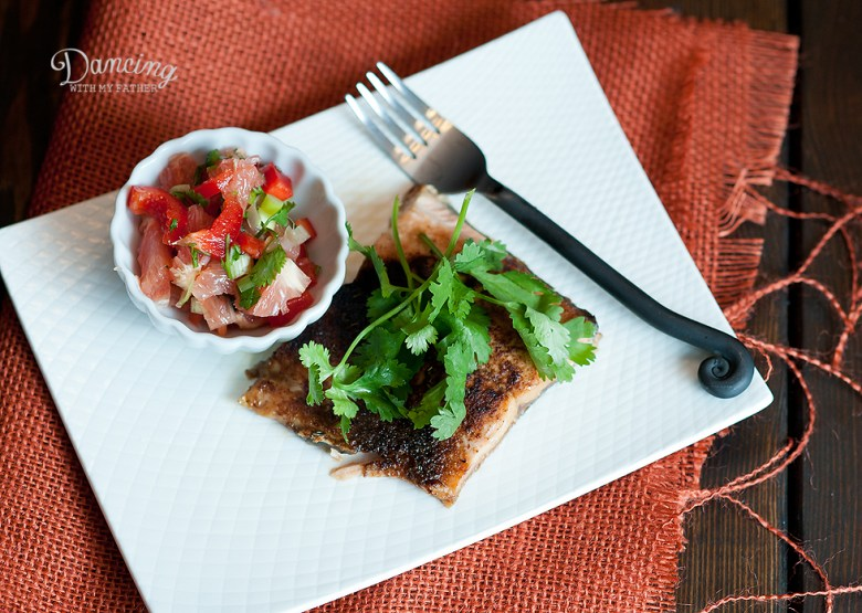 Paleo Sweet and Spicy Salmon with Grapefruit Salsa