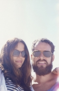 Woman bearded man wearing Mykita sunglasses