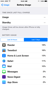 Battery usage list
