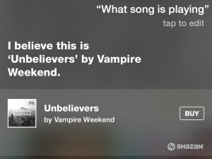 Siri song recognition.