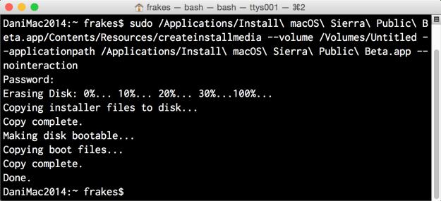 Using createinstallmedia in Terminal.