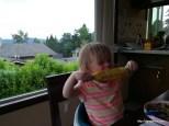Abby loves corn on the cob.