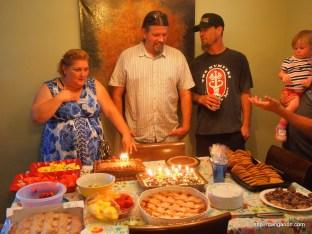 Birthday party for Barbara, Jason, and Rob.