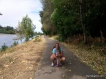 My girls and I walking along the Willamette River at Minto Brown Island Park