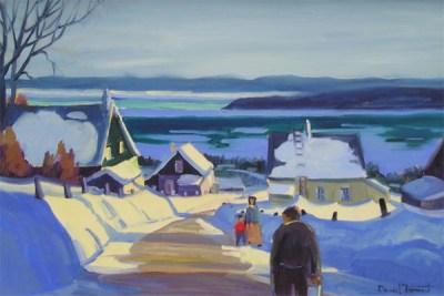 Daniel Froment artiste peintre toile peinture oeuvre paysage Charlevoix Baie-Saint-Paul - Par un bel hiver