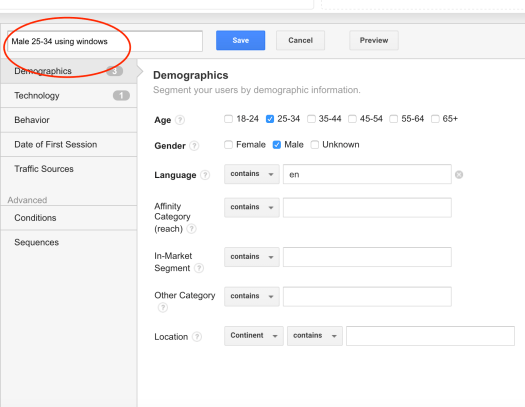 Google Analytics add segment title