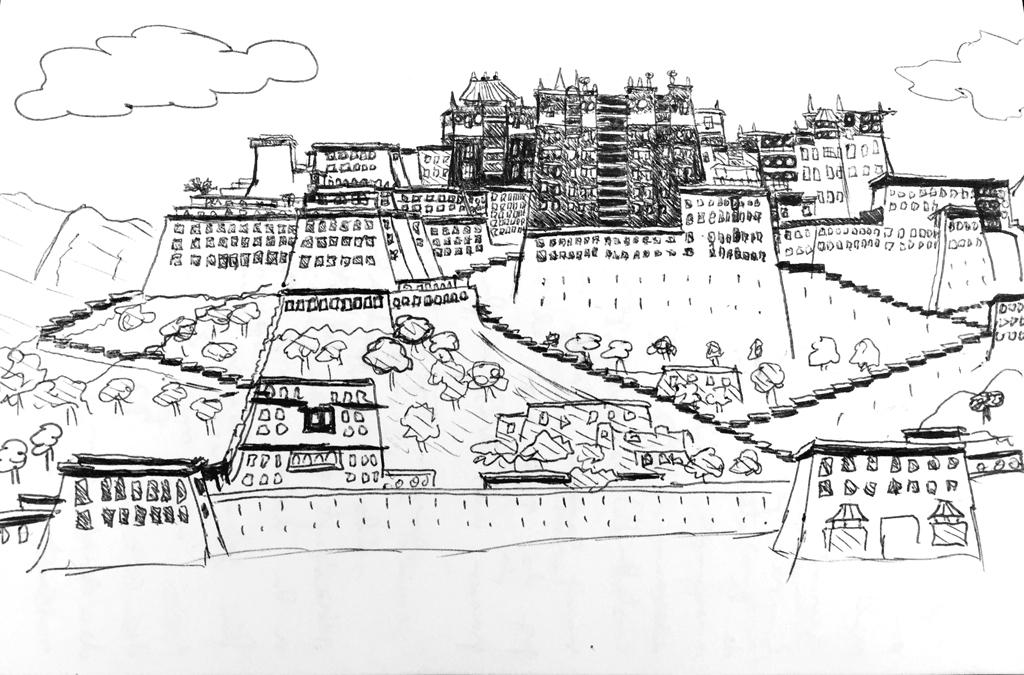 Tibet, Lhasa, Potala palace, drawing