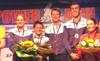 Medal Ceremony at the european duathlon champs mixed relay