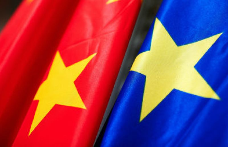 China and EU flags