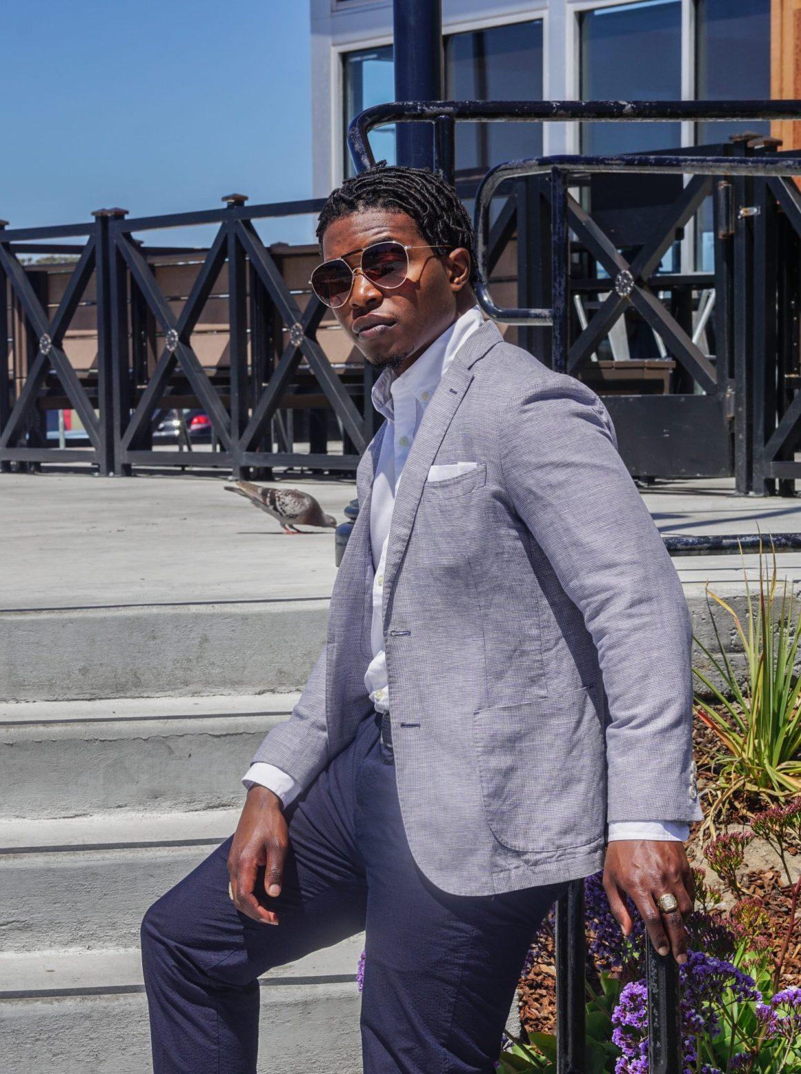 dapper advisor-black man wearing-linen blazer-seersucker pants-brown tassel loafers-4