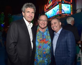 HOLLYWOOD, CA - JUNE 08: (L-R) Chairman, The Walt Disney Studios, Alan Horn, Executive producer John Lasseter and Walt Disney Studios President Alan Bergman attend The World Premiere of Disney-Pixar's FINDING DORY on Wednesday, June 8, 2016 in Hollywood, California. (Photo by Alberto E. Rodriguez/Getty Images for Disney) *** Local Caption *** Alan Horn; John Lasseter; Alan Bergman