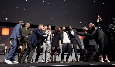 LONDON, ENGLAND - JULY 15: (L-R) Forest Whitaker, Mads Mikkelsen, Alan Tudyk, Wen Jiang, Donnie Yen, Felicity Jones, Riz Ahmed, Diego Luna, Ben Mendelsohn and Gwendoline Christie on stage during the Rogue One Panel at the Star Wars Celebration 2016 at ExCel on July 15, 2016 in London, England. (Photo by Ben A. Pruchnie/Getty Images for Walt Disney Studios) *** Local Caption *** Forest Whitaker; Mads Mikkelsen; Alan Tudyk; Wen Jiang; Donnie Yen; Felicity Jones; Riz Ahmed; Diego Luna; Ben Mendelsohn; Gwendoline Christie