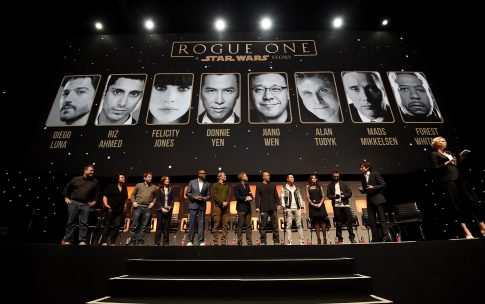 LONDON, ENGLAND - JULY 15: (L-R) John Knoll, Kiri Hart, Gareth Edwards, Kathleen Kennedy, Forest Whitaker, Mads Mikkelsen, Alan Tudyk, Wen Jiang, Donnie Yen, Felicity Jones, Riz Ahmed, Diego Luna and Gwendoline Christie on stage during the Rogue One Panel at the Star Wars Celebration 2016 at ExCel on July 15, 2016 in London, England. (Photo by Ben A. Pruchnie/Getty Images for Walt Disney Studios) *** Local Caption *** John Knoll; Kiri Hart; Gareth Edwards; Kathleen Kennedy; Forest Whitaker; Mads Mikkelsen; Alan Tudyk; Wen Jiang; Donnie Yen; Felicity Jones; Riz Ahmed; Diego Luna; Gwendoline Christie