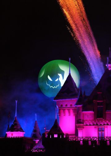 """MICKEY'S HALLOWEEN PARTY (ANAHEIM, Calif.) – Jack Skellington presides over the """"Halloween Screams"""" fireworks spectacular, which lights up the sky surrounding Sleeping Beauty Castle at Disneyland park as part of the entertainment exclusive to the annual Mickey's Halloween Party. Returning for 17 nights in 2016, beginning Friday, Sept. 23, Mickey's Halloween Party is a time for guests to dress up for a ghoulish good time and enjoy seasonal scares such as Space Mountain Ghost Galaxy and Haunted Mansion Holiday. (Paul Hiffmeyer/Disneyland)"""