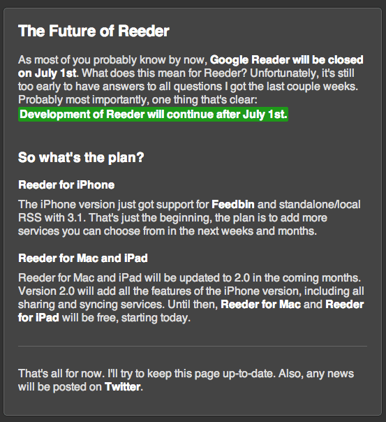 Reeder has plans for a post-Google Reader world