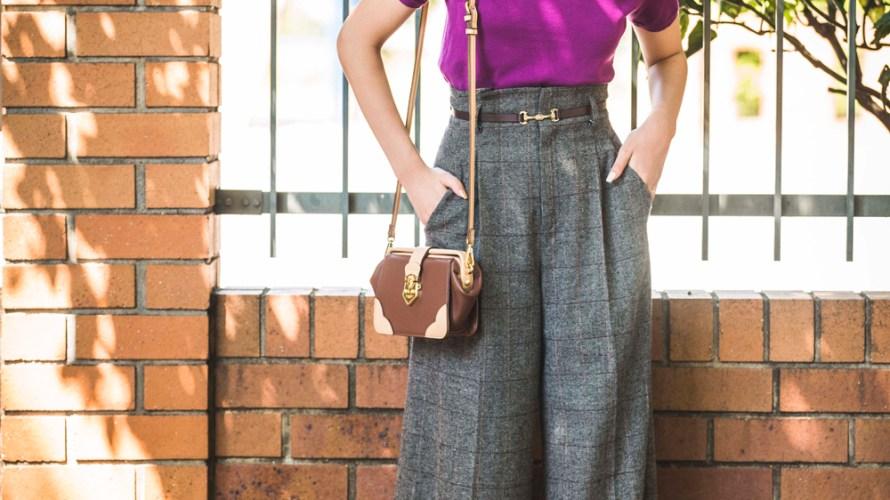 【今日のコーデ】秋色プラムを差し色に♡チェック柄ワイドパンツの着回しスタイル