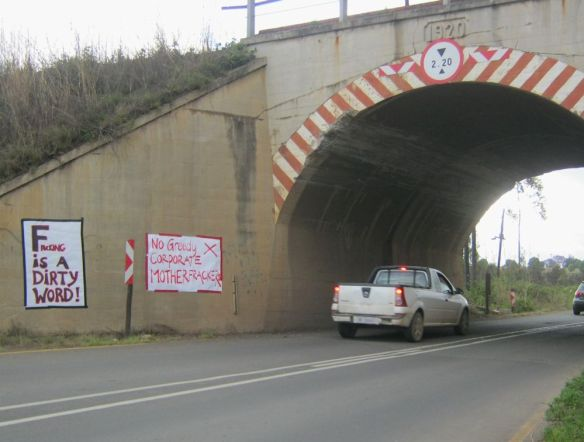 anti fracking posters howick bridge
