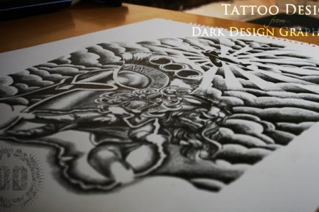 custom half sleeve tattoo design from dark design graphics