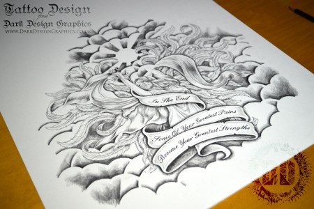 beautiful angel custom tattoo design from dark design graphics