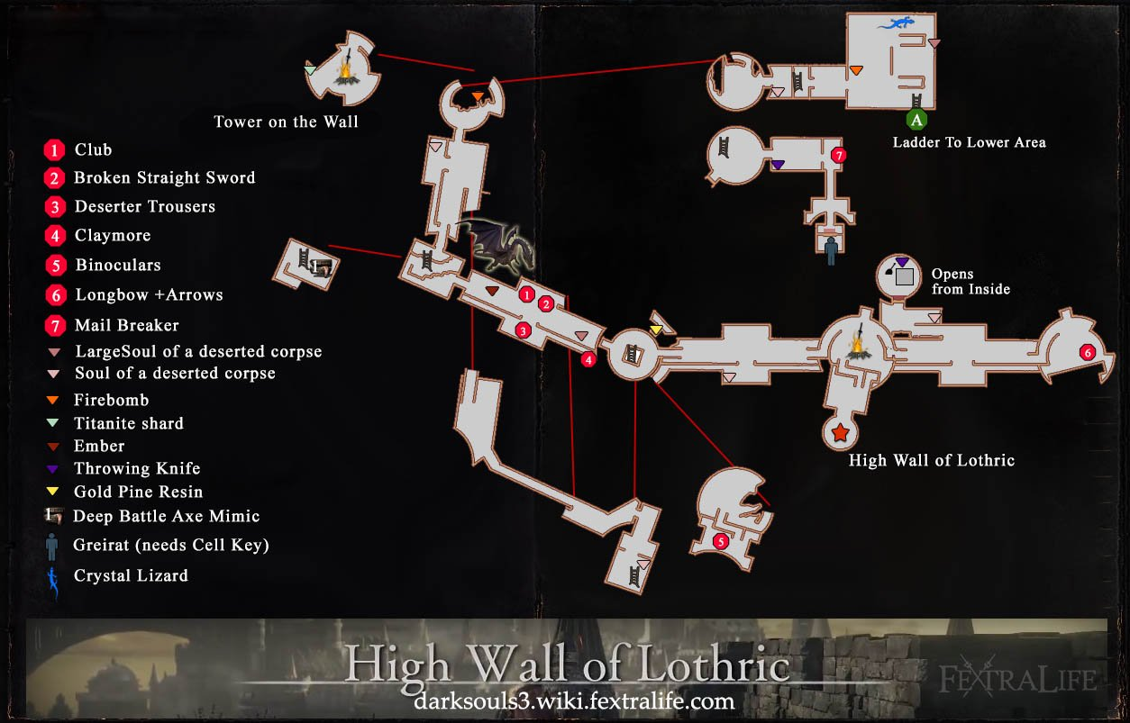 Maps   Dark Souls 3 Wiki High Wall of Lothric Map 1