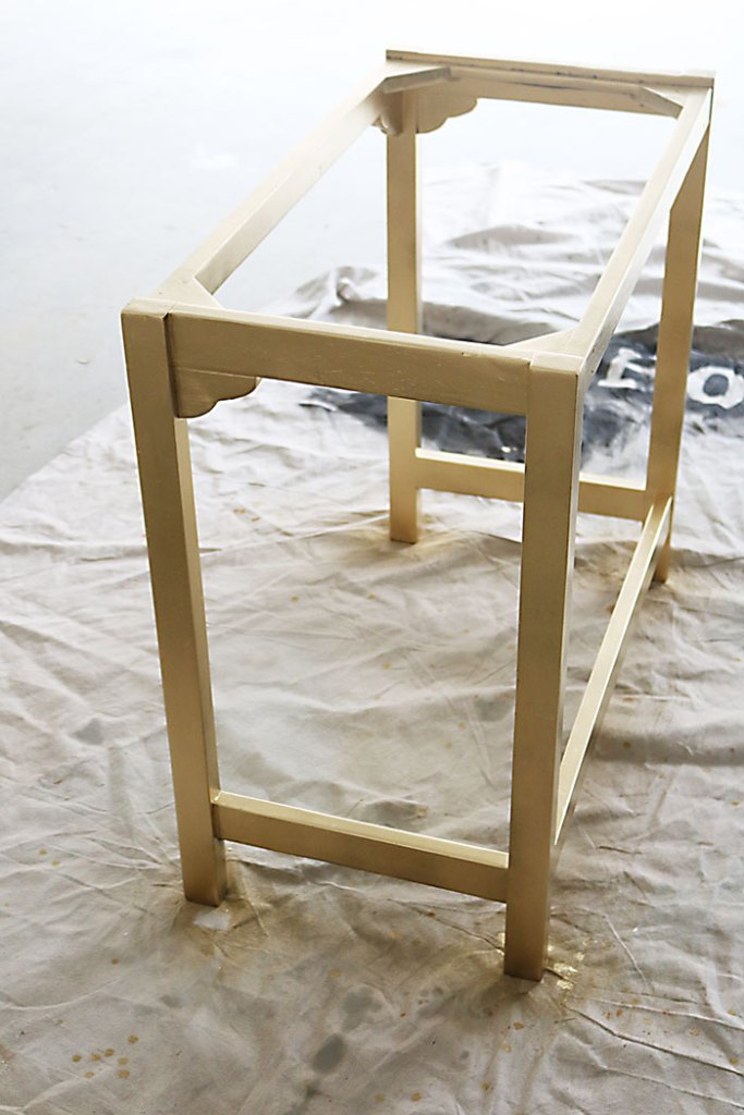 Diy painted white and gold furniture amy howard at home - What temperature is too cold to paint outside ...