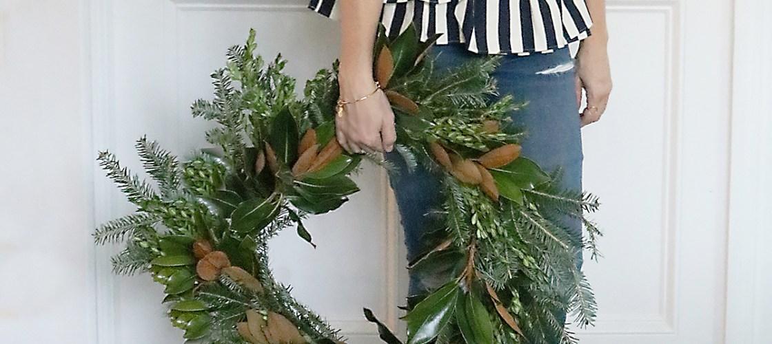 DIY Fresh Magnolia Mixed Branch Wreath