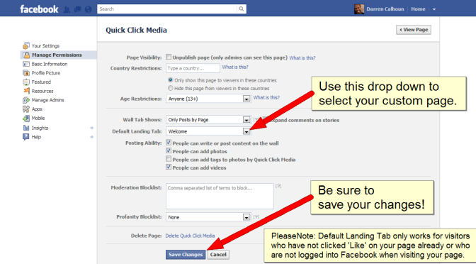 How to change the default tab on your Facebook fan page.