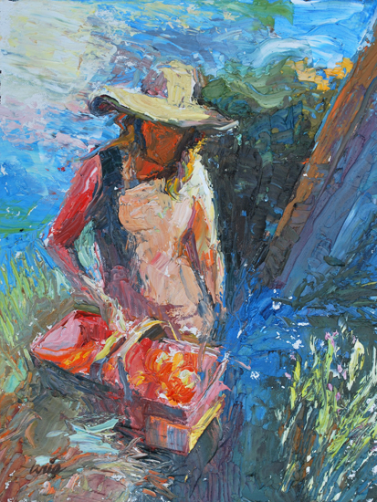 Woman with Basket Study, 6 x 4 inches, oil on panel