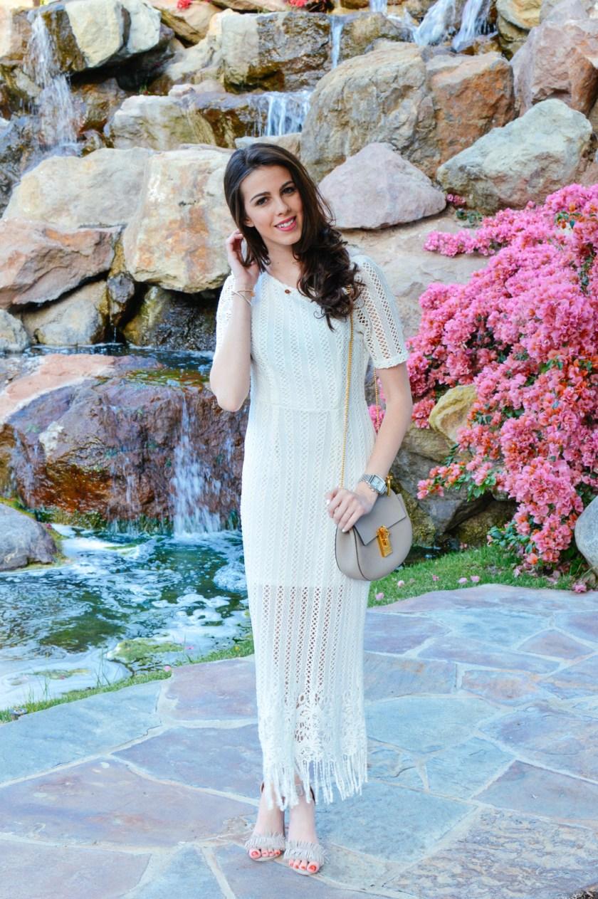 white crochet dress for spring