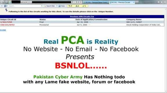 BSNL Website VPN page Hacked by PCA