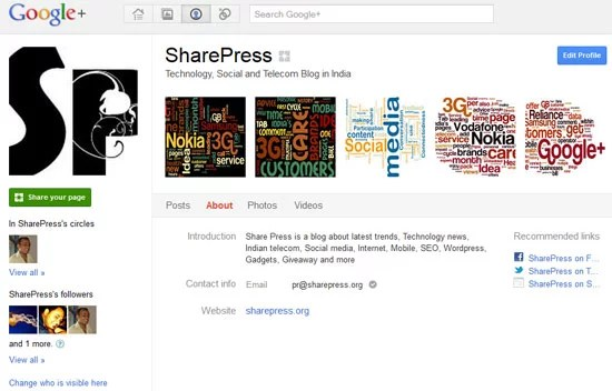 Google plus Create Page - Profile Edit