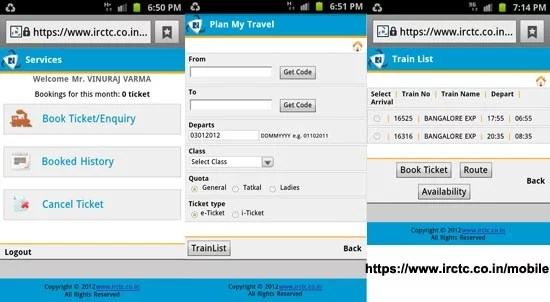 IRCTC Mobile railway ticket booking