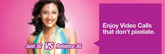 Reliance 3G new unlimited Local and STD onnet video call packs
