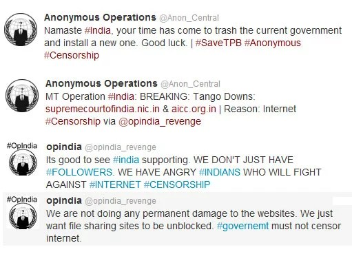 Anonymous Takes Down Supreme Court, AICC & DOT Websites in Response to Torrent Block